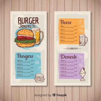 Modello di menu ristorante hamburger disegnato a mano