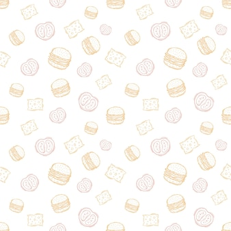 Hand drawn burger vintage pattern for packaging