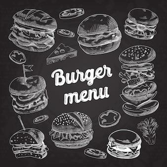 Hand drawn burgers on blackboard
