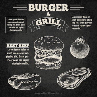 Hand drawn burguer menu in chalkboard