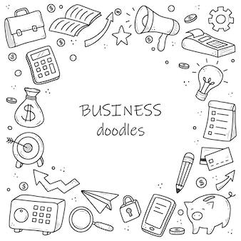 Ручной обращается элементы бизнеса и финансов, монеты, калькулятор, копилка, деньги. стиль эскиза каракули.