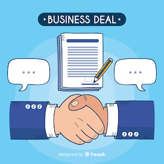 Hand drawn business deal concept