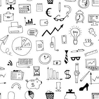 Hand drawn business doodles seamless pattern. vector illustration