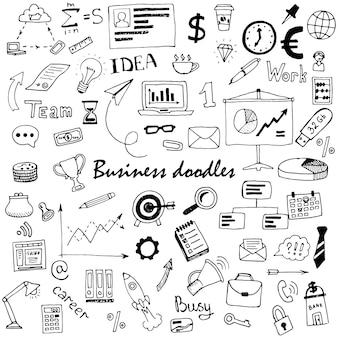 Набор рисованной бизнес каракулей. векторная иллюстрация