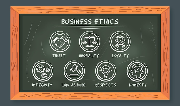Hand drawn business ethics with blackboard