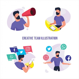 Hand drawn business group people activities with work properties