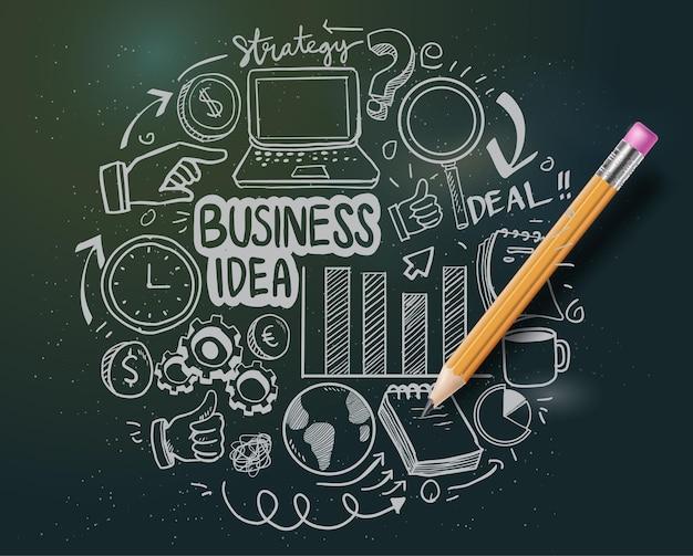 손으로 그린 비즈니스 아이콘과 많은 정보 그래픽 디자인 요소와 조롱. 팀워크 아이디어, 브레인스토밍 세션 및 일반 비즈니스 계획 프레젠테이션에 이상적입니다.