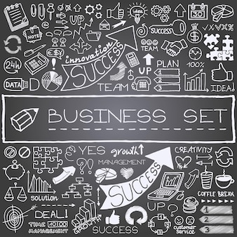 Hand drawn business icons set with chalkboard effect