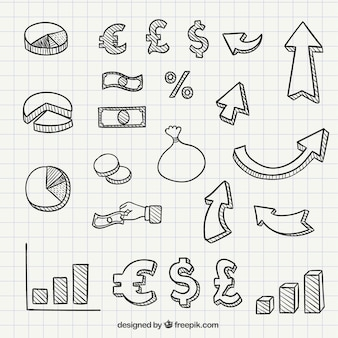 Hand drawn business icons and symbols Free Vector