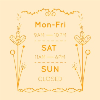 Hand drawn business opening hours illustration