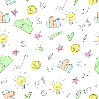 Hand drawn business seamless pattern with financial doodle sketch elements - arrow, graph, chart, tool. vector illustration.