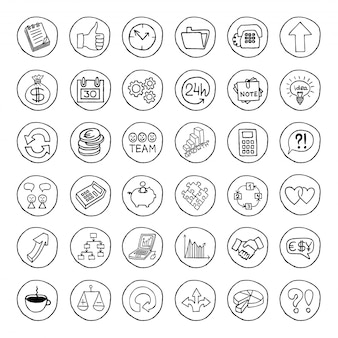 Hand drawn business set of buttons.