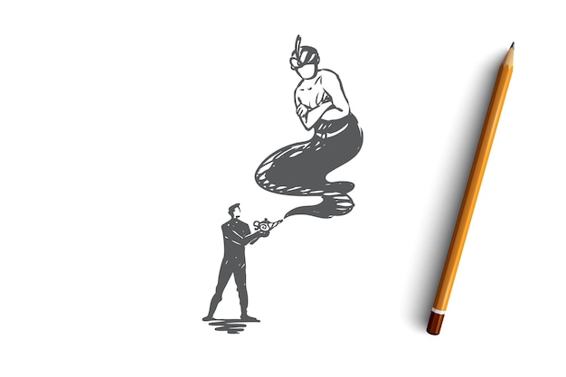 Hand drawn businessman and lamp gin concept sketch