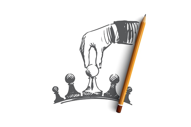 Hand drawn businessman's hand playing chess concept sketch