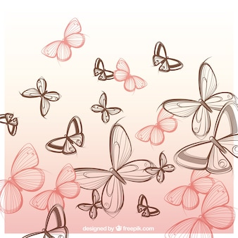 Hand drawn butterflies background