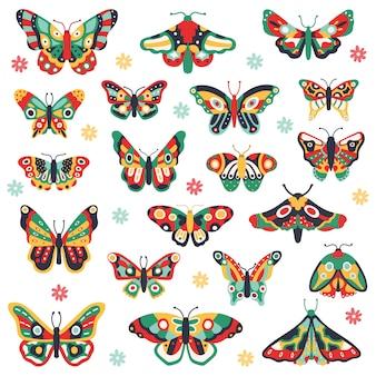 손으로 그린 나비. 다채로운 비행 나비, 귀여운 그림 곤충 낙서. 꽃 봄 빠삐용 그림 아이콘을 설정합니다. 나비 곤충 드로잉, 날개에 꽃 패턴