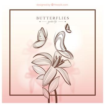 Hand drawn butterflies and flower