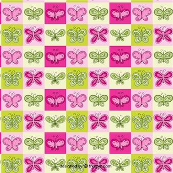 손으로 그린 나비 패턴 색된 사각형