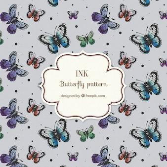 도트와 손으로 그린 나비 패턴
