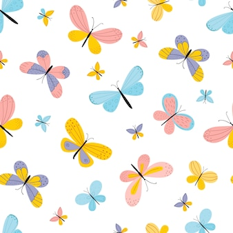 Hand drawn butterflies. seamless pattern on a white background