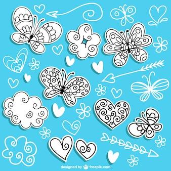 Hand drawn butterflies
