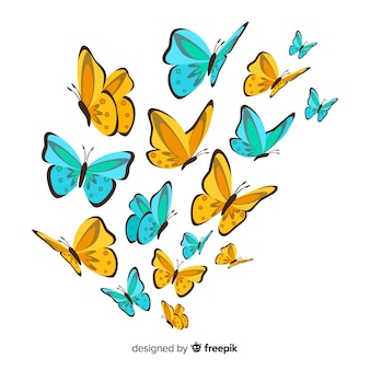 Hand drawn butterfly background