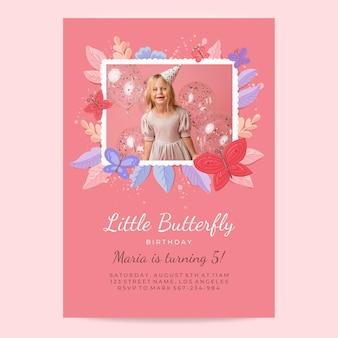 사진과 함께 손으로 그린 나비 생일 초대장 서식 파일