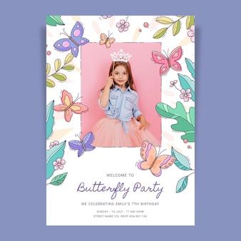 Ручной обращается шаблон приглашения на день рождения бабочки с фото