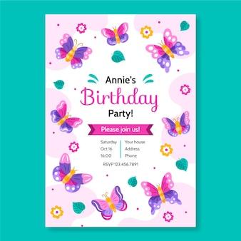 Modello dell'invito di compleanno farfalla disegnata a mano