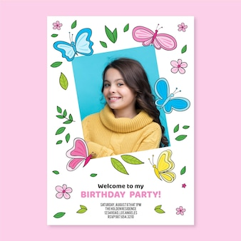 Hand drawn butterfly birthday invitation with photo template
