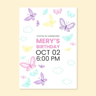 Hand drawn butterfly birthday invitation