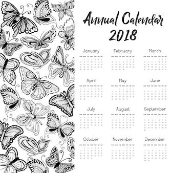 손으로 그린 나비 달력 2018