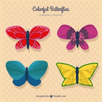 화려한 날개를 가진 손으로 그린 나비 컬렉션