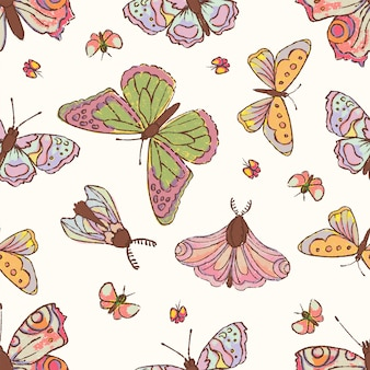 Hand drawn butterfly cute cartoon insect