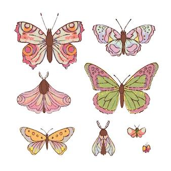 Hand drawn butterfly cute cartoon насекомое