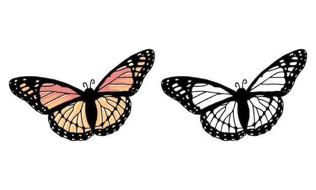 손으로 그린 나비 튀김 색칠 공부 페이지
