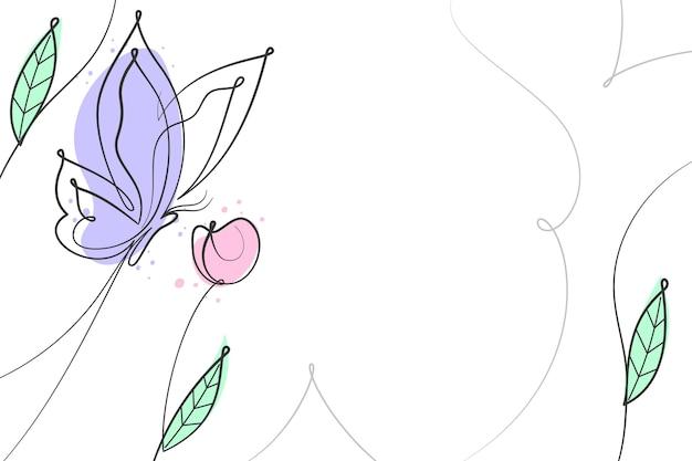 手描きの蝶の輪郭の背景