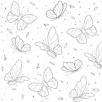 Hand drawn butterfly outline background