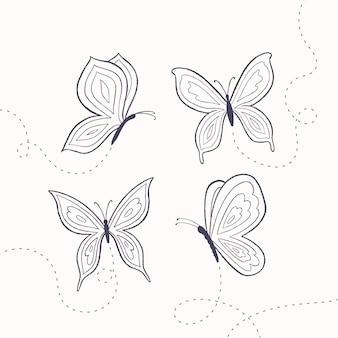 Collezione di contorni di farfalle disegnati a mano