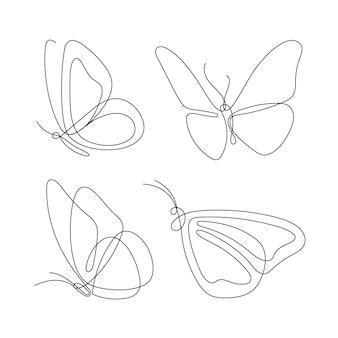 Pacchetto contorno farfalla disegnata a mano