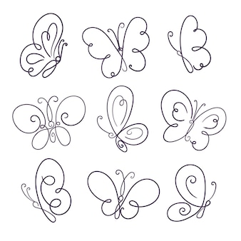 Hand drawn butterfly outline pack