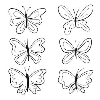 手描きの蝶のアウトラインパック