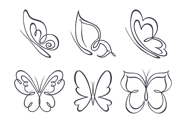 Hand drawn butterfly outline pack Free Vector