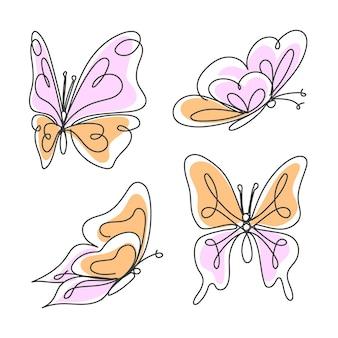 Набор рисованной бабочки