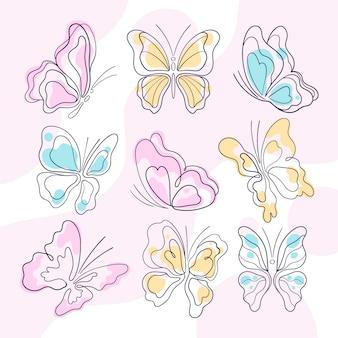 Set di contorni di farfalle disegnate a mano