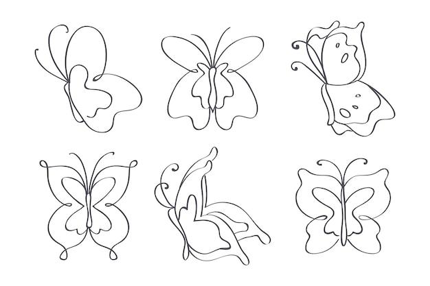 手描きの蝶のアウトラインセット