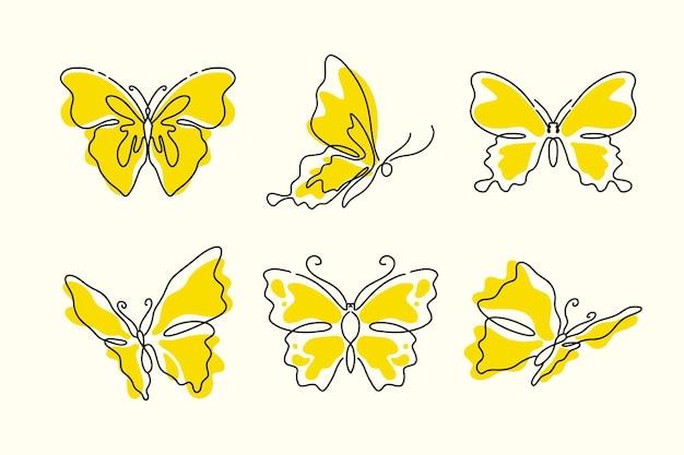손으로 그린 나비 개요 세트
