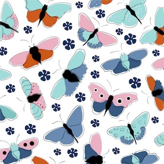 Hand drawn  butterfly pattern
