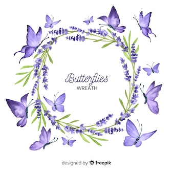 Hand drawn butterfly wreath