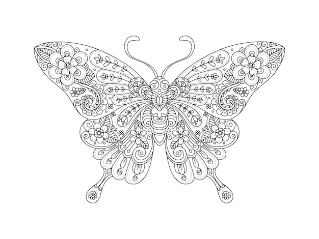 Hand drawn butterfly zentangle style for coloring page